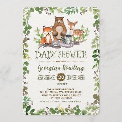Green Woodland Baby Shower Invitation Forest