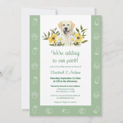 Green Yellow Labrador Dog Baby Shower Invitation