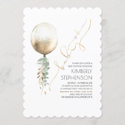 Greenery and Gold Glitter Balloon Oh Baby Shower Invitation