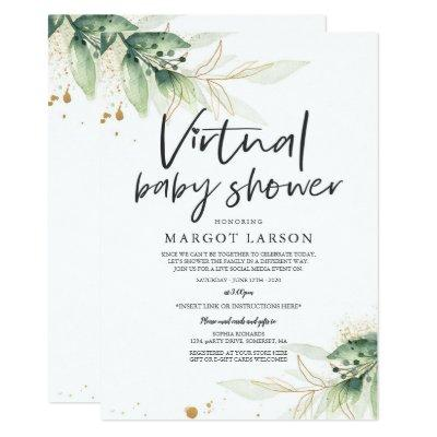 Greenery And Gold Virtual Baby Shower Invitation