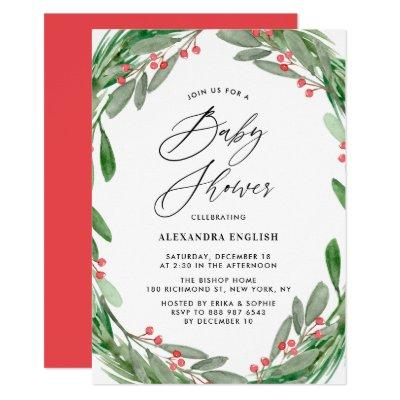 Greenery and Holly Wreath Winter Baby Shower Invitation