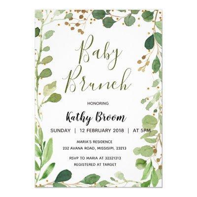 Greenery Baby Brunch Invitation