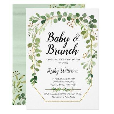 greenery baby brunch shower Invitations