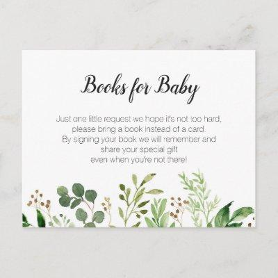 Greenery Baby Shower - Bring a book insert Invitations Postcard