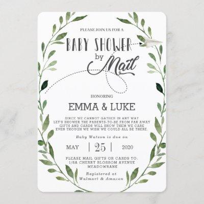 Greenery Baby Shower by Mail Long Distance Neutral Invitation
