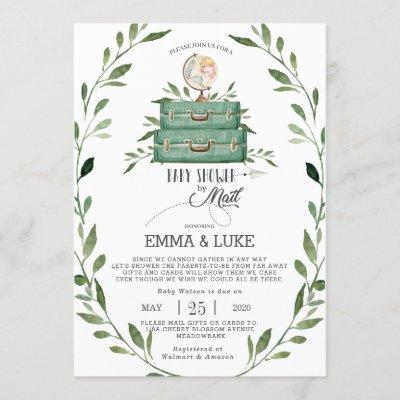 Greenery Baby Shower by Mail Long Distance Travel Invitation