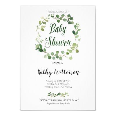 greenery baby shower invitation card