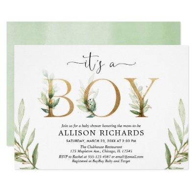 Greenery baby shower It's a boy green gold foliage Invitation