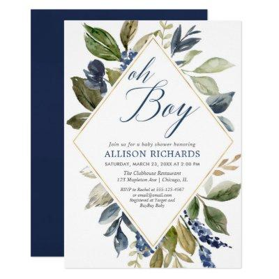 Greenery baby shower, navy blue green foliage boy invitation