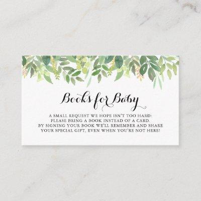 Greenery Botanical Baby Shower Book Request Enclosure Card