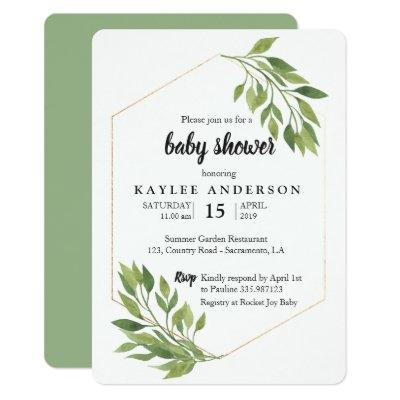 Greenery elegant Baby shower invitation