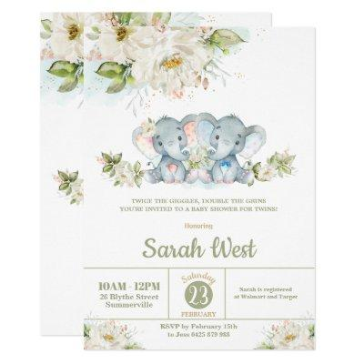 Greenery Elephant Twins Boy Girl Baby Shower Invitation