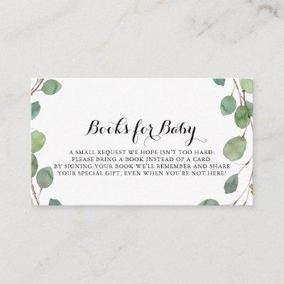Greenery Eucalyptus Baby Shower Book Request Enclosure Card