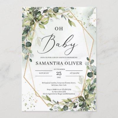 Greenery foliage gold geometric frame oh baby invitation