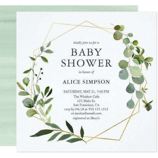 Greenery Geometric Baby Shower Card