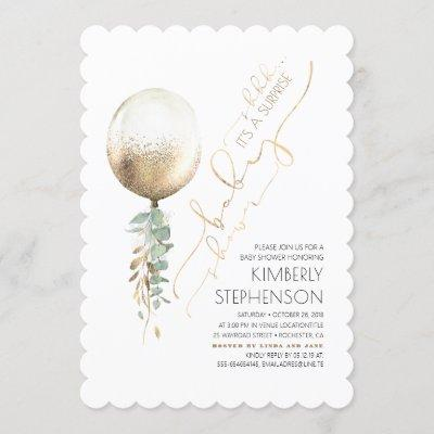 Greenery Gold Glitter Balloon Surprise Baby Shower Invitation