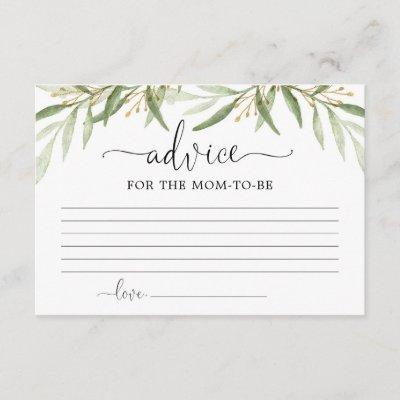 Greenery gold leaves Advice for mom parents Enclosure Card