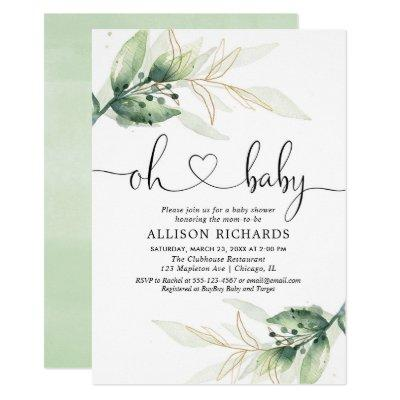 Greenery gold leaves gender neutral baby shower Invitations