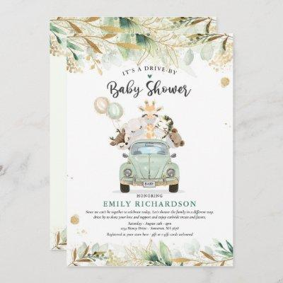 Greenery Gold Safari Animals Drive By Baby Shower Invitation