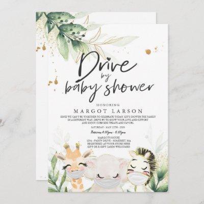 Greenery Gold Safari Animals Drive By Baby Shower Invitation