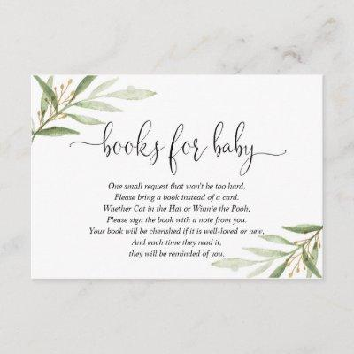 Greenery green gold book request books for baby enclosure card