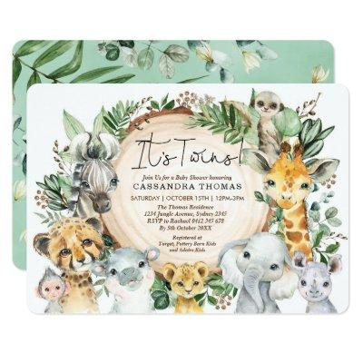 Greenery Jungle Party Animals Twins Baby Shower Invitation