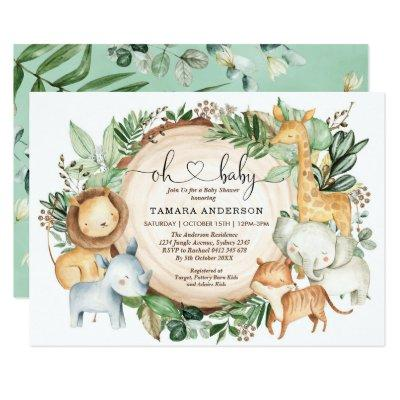 Greenery Jungle Safari Wild Animals Baby Shower Invitation