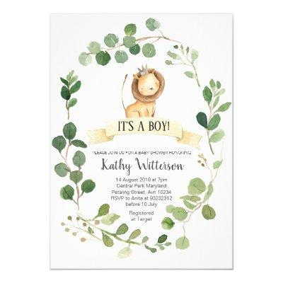 Greenery Lion Baby Shower Invitation