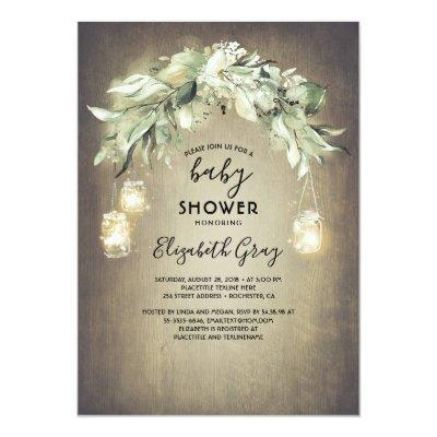 Greenery Mason Jar Lights Rustic Baby Shower Invitation