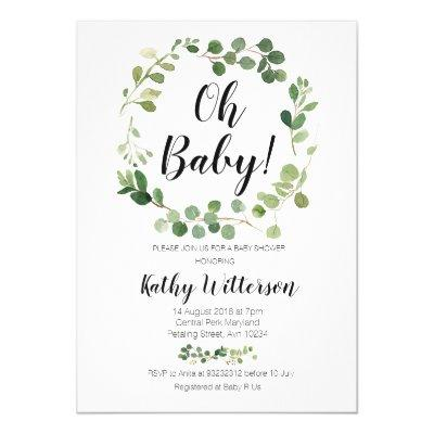 greenery oh baby shower Invitations