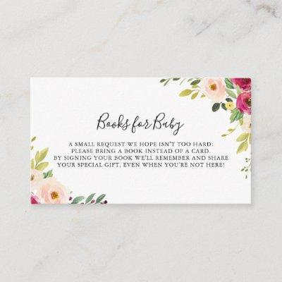 Greenery Pink Blush Baby Shower Book Request Enclosure Card