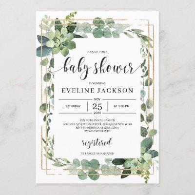 Greenery succulent floral boho baby shower invitation