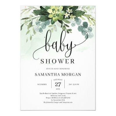 Greenery succulent floral boho rustic baby shower invitation