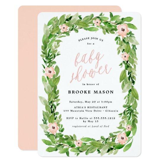 Greenery Wreath Spring Baby Shower Invitation