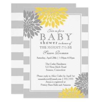 Grey and Yellow Modern Flower Baby Shower Invitation
