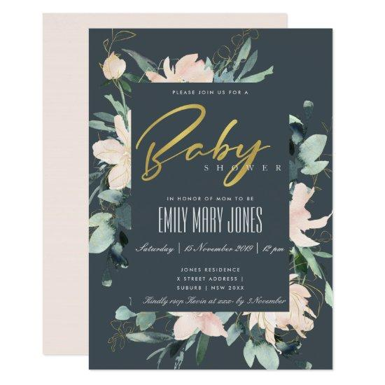 GREY BLUSH FLORAL FRAME WATERCOLOR BABY SHOWER INVITATION