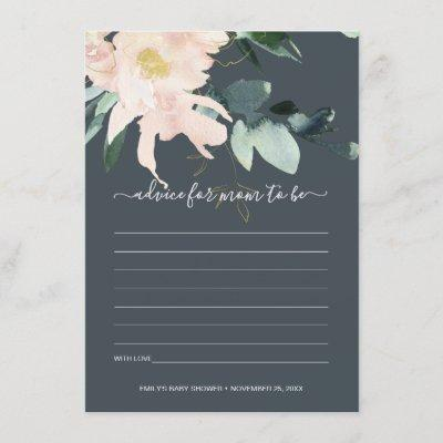 GREY BLUSH FLORAL WATERCOLOR ADVICE BABY SHOWER ENCLOSURE CARD