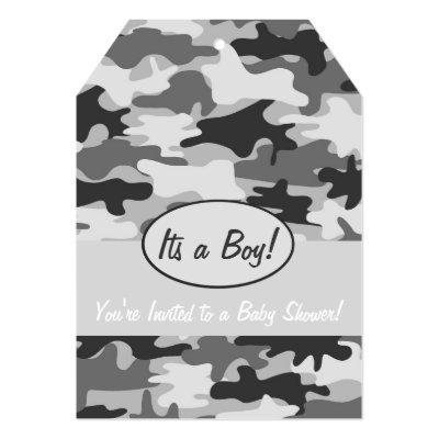 Grey Camo Camouflage Boy Baby Shower Invitations