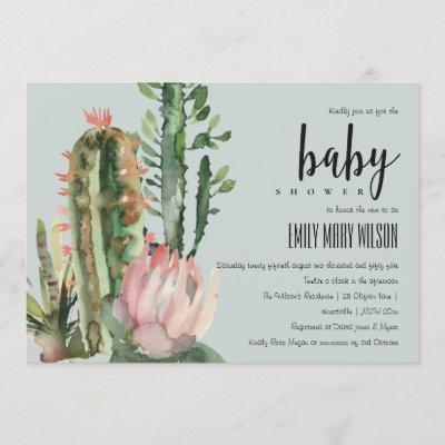 GREY PINK FLORAL DESERT CACTI FOLIAGE BABY SHOWER INVITATION