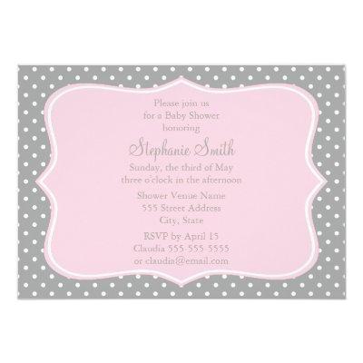 Grey, White and Pastel Pink Polka Dot Baby Shower Invitation