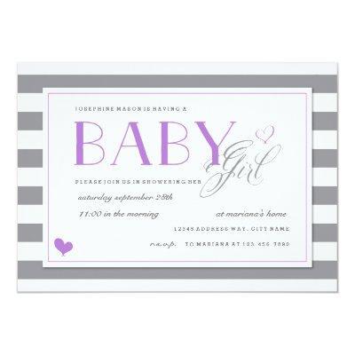 Grey & White Stripe Baby Shower  Lavender Purple Invitations