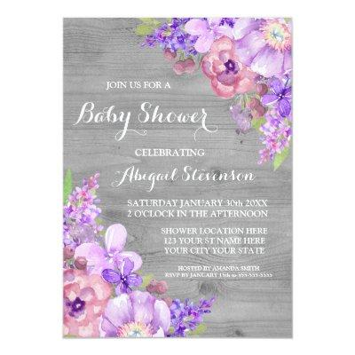 Grey Wood Purple Watercolor Flowers Baby Shower Invitations