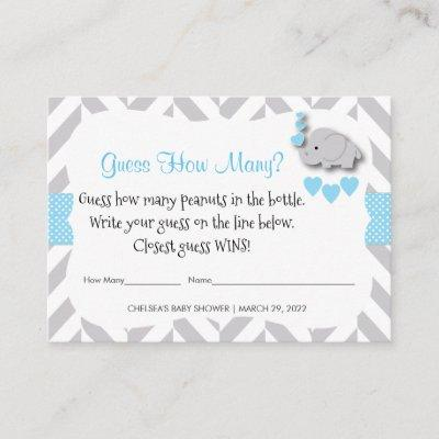 Guess How Many - Blue Elephant Enclosure Card
