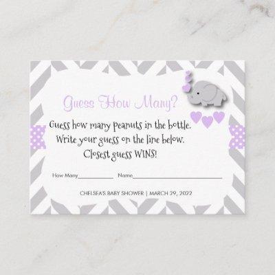Guess How Many - Purple Elephant Enclosure Card