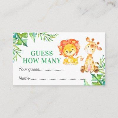 Guess How Many Safari Baby Shower Birthday Game Enclosure Card