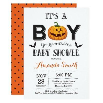Halloween Baby Boy Shower Invitation
