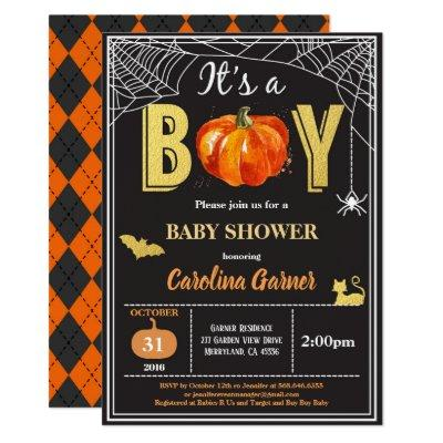 Halloween baby boy shower Invitations. Black gold Invitations