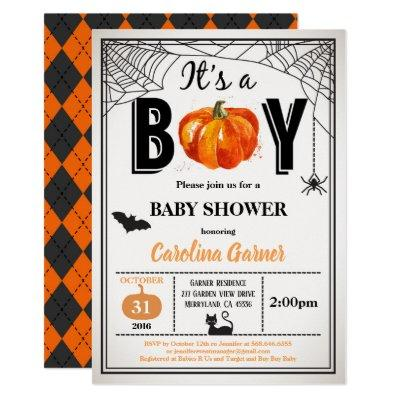 Halloween baby boy shower invitation. It's a boy Invitation