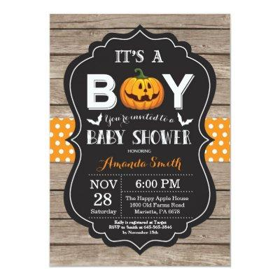 Halloween Baby Boy Shower Invitation Rustic Wood