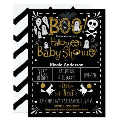 Halloween Baby Shower Modern Whimsical Hand Drawn Invitation